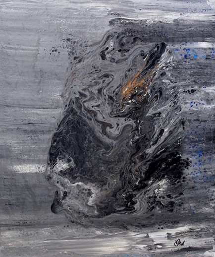 abîme-la rage au coeur 51 x 41 cm acrylique