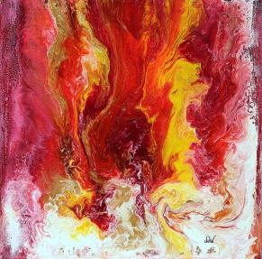 les feux de l'âme 61 x 61 cm acrylique